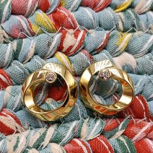 Vintage gold plate steel hoops ring rhinestones